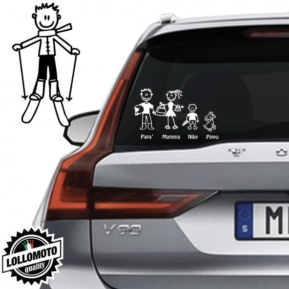 Ragazzo Con Sci Vetro Auto Famiglia StickersFamily Stickers