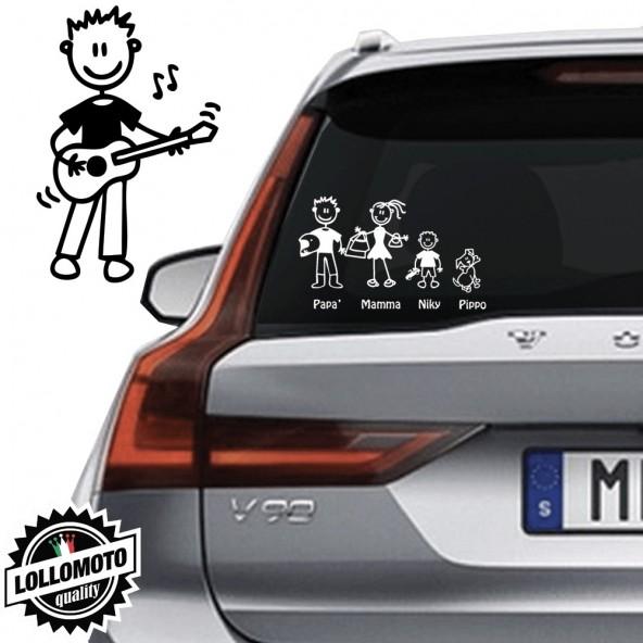 Ragazzo Che Suona Chitarra Vetro Auto Famiglia StickersFamily