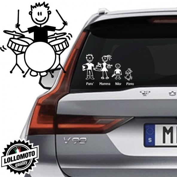 Ragazzo Che Suona Batteria Vetro Auto Famiglia StickersFamily