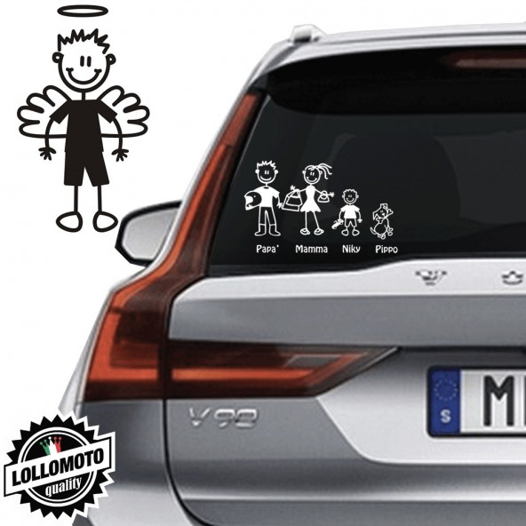 Ragazzo Angelo Vetro Auto Famiglia StickersFamily Stickers Family Decal