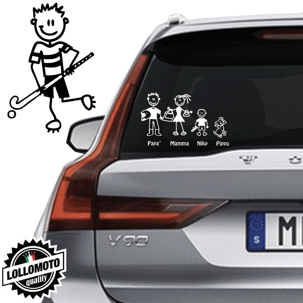 Ragazzo Hockey Vetro Auto Famiglia StickersFamily Stickers