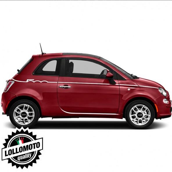 Strisce Scritta Fiat 500 Tagliata Adesivi Stickers Fiancate