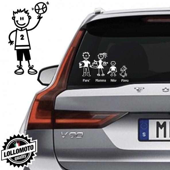 Ragazzo Basket Vetro Auto Famiglia StickersFamily Stickers