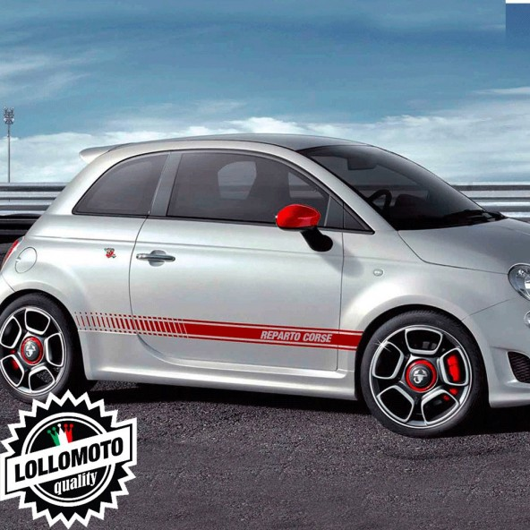 Strisce Reparto Corse per Fiat 500 Abarth Adesivi Stickers Fiancate Auto Strip Decal