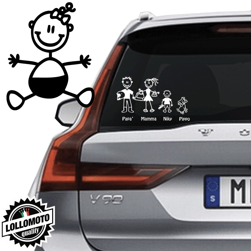 Neonata Con Fiocco Vetro Auto Famiglia StickersFamily Stickers