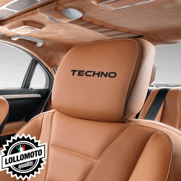 Kit 2 pz Adesivi Poggiatesta Sedili Pelle TECHNO Marchio Stickers Auto Decal Intagliati Altissima Qualità