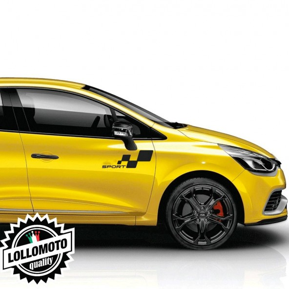 2 pz Adesivi Sport Speculari per Renault Fiancate Clio Rs Stickers Auto Decal Intagliati