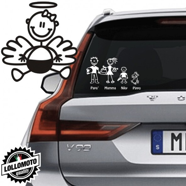 Angelo Neonato Con Fiocchetto Vetro Auto Famiglia StickersFamily Stickers Family Decal
