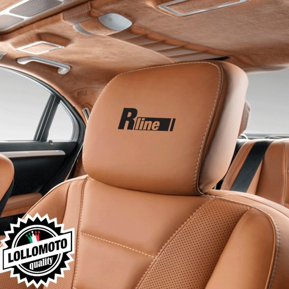 Kit 2 pz R line Adesivi Poggiatesta Sedili Pelle Audi Marchio Stickers Auto Decal Intagliati Altissima Qualità
