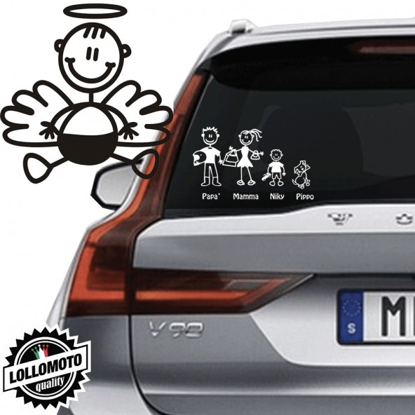 Angelo Neonato Vetro Auto Famiglia StickersFamily Stickers