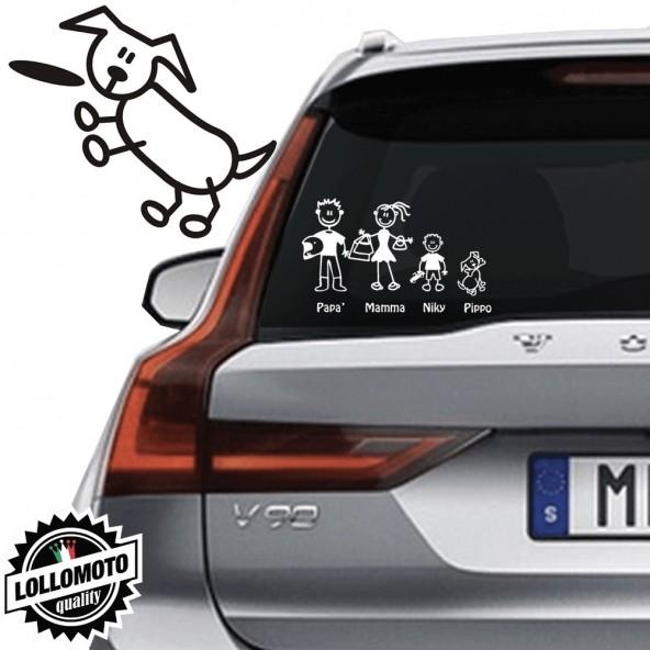Cane che Salta Vetro Auto Famiglia StickersFamily Stickers Family Decal