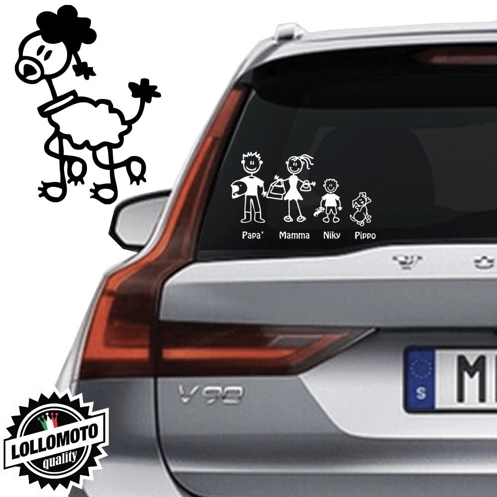 Cane Barboncino Vetro Auto Famiglia StickersFamily Stickers