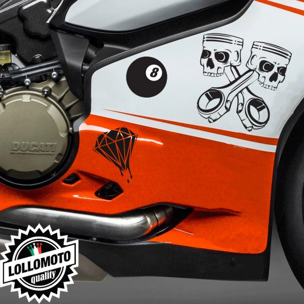 Kit 3 Adesivi Misti Stickers Carene Moto Decal Pista Intagliati