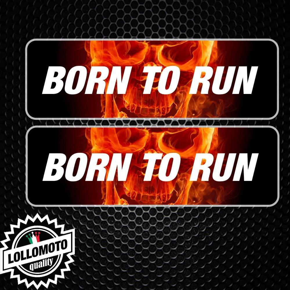 2x Adesivo Born To Ride Flame Skull Moto Decal Jdm Stampato