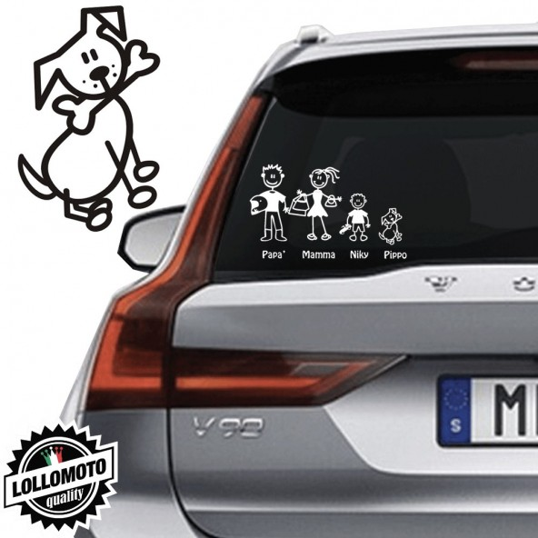 Cane Con Osso Vetro Auto Famiglia StickersFamily Stickers Family Decal