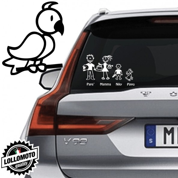 Uccellino Vetro Auto Famiglia StickersFamily Stickers Family