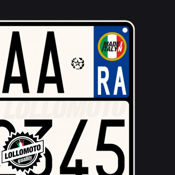 2x Adesivi Targa Made In Italy per Piaggio Moto Stickers Decal