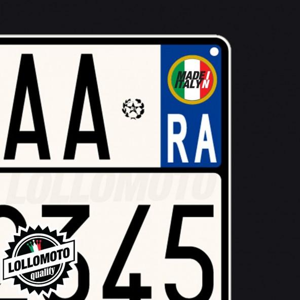 2x Adesivi Targa Made In Italy per Piaggio Moto Stickers Decal