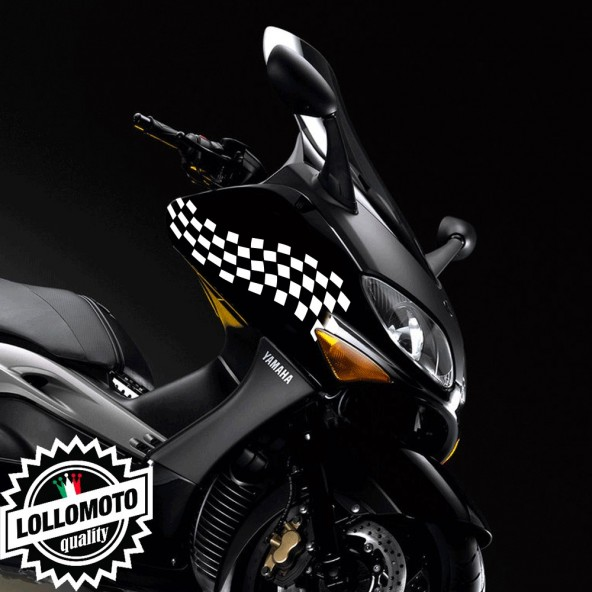 2x Adesivi Bandiera Scacchi per Yamaha T MAX 01-07 Moto Decal