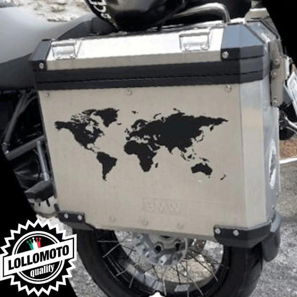 2x Adesivi Mondo per Bmw Gs Valigie Borse Moto Decal Intagliati