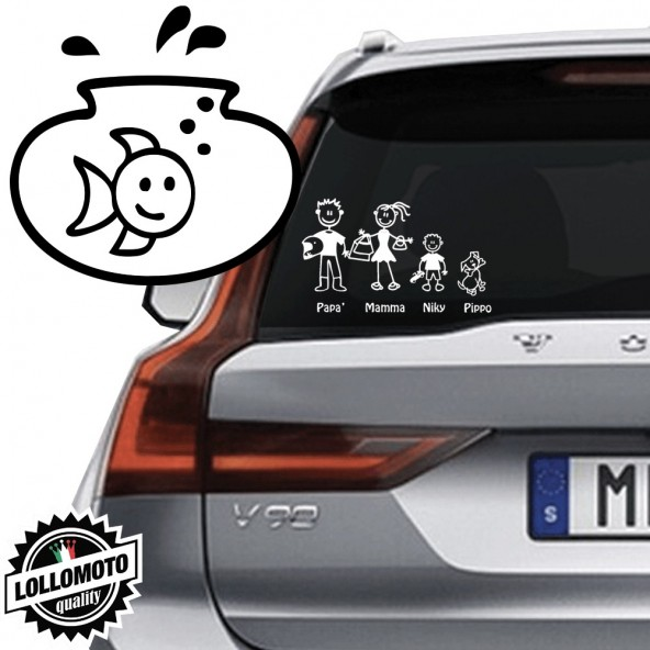 Vaso con Pesce Vetro Auto Famiglia StickersFamily Stickers Family Decal