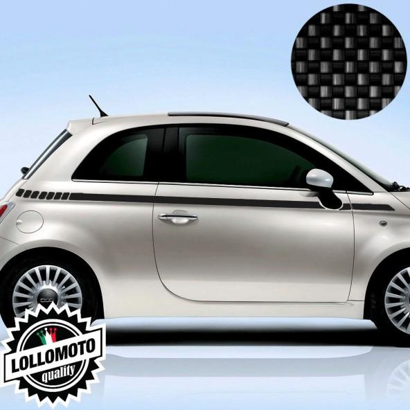 Kit Fasce Adesive Fiat 500 Laterali Carbonio 4D Fashion Strisce