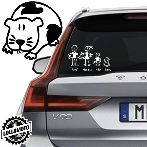 Porcellino d'India Vetro Auto Famiglia StickersFamily Stickers Family Decal