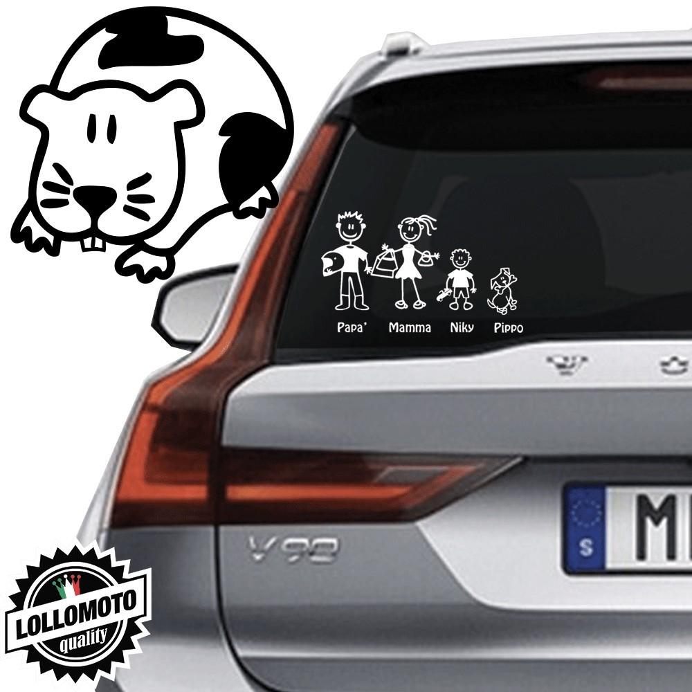 Porcellino d'India Vetro Auto Famiglia StickersFamily Stickers