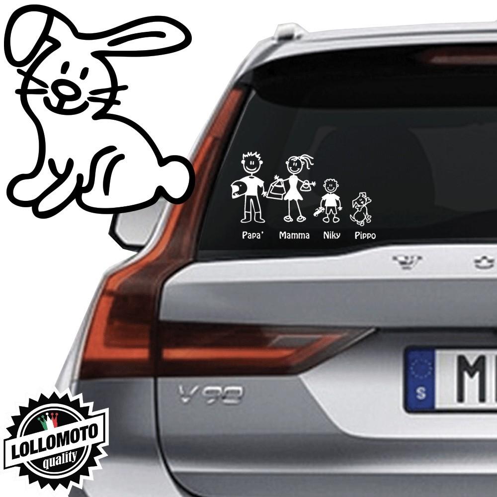 Coniglio Vetro Auto Famiglia StickersFamily Stickers Family