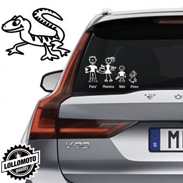 Lucertola Vetro Auto Famiglia StickersFamily Stickers Family Decal