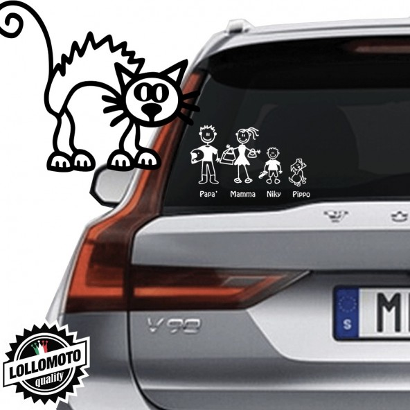 Gatto Vetro Auto Famiglia StickersFamily Stickers Family Decal