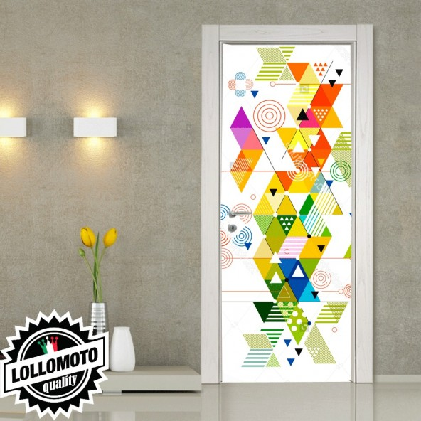 Adesivo Per Porta Colors Abstract Pellicola Adesiva