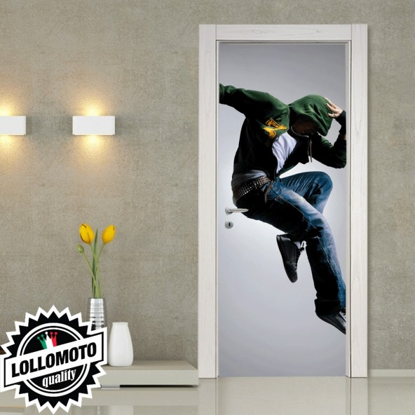 Adesivo Per Porta Ragazzo Che Salta Jump Pellicola Adesiva