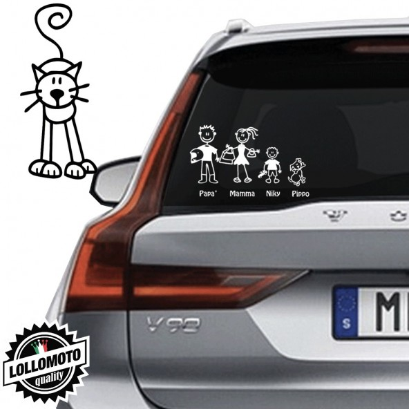 Gatto di Fronte Vetro Auto Famiglia StickersFamily Stickers Family Decal