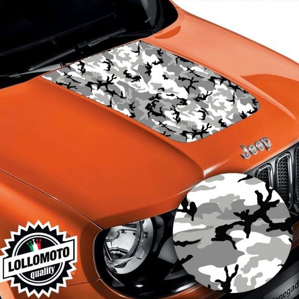 Striscia Adesiva Mimetico Artico Bianco Nero Cofano Jeep