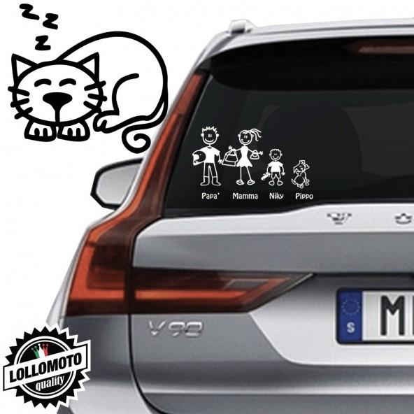 Gatto che Dorme Vetro Auto Famiglia StickersFamily Stickers Family Decal