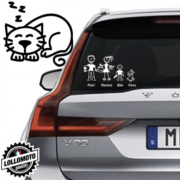 Gatto che Dorme Vetro Auto Famiglia StickersFamily Stickers
