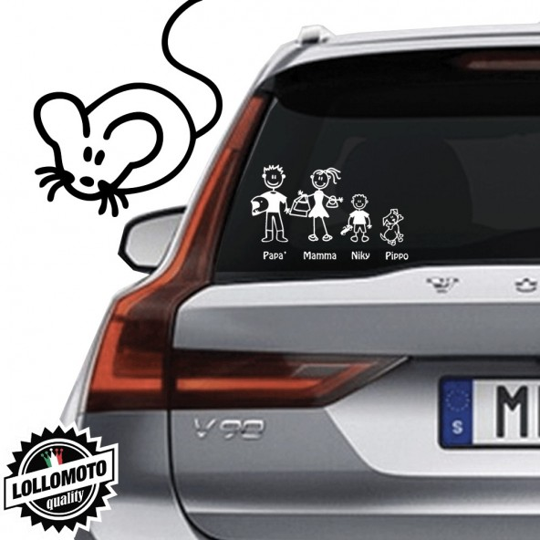 Topolino Vetro Auto Famiglia StickersFamily Stickers Family