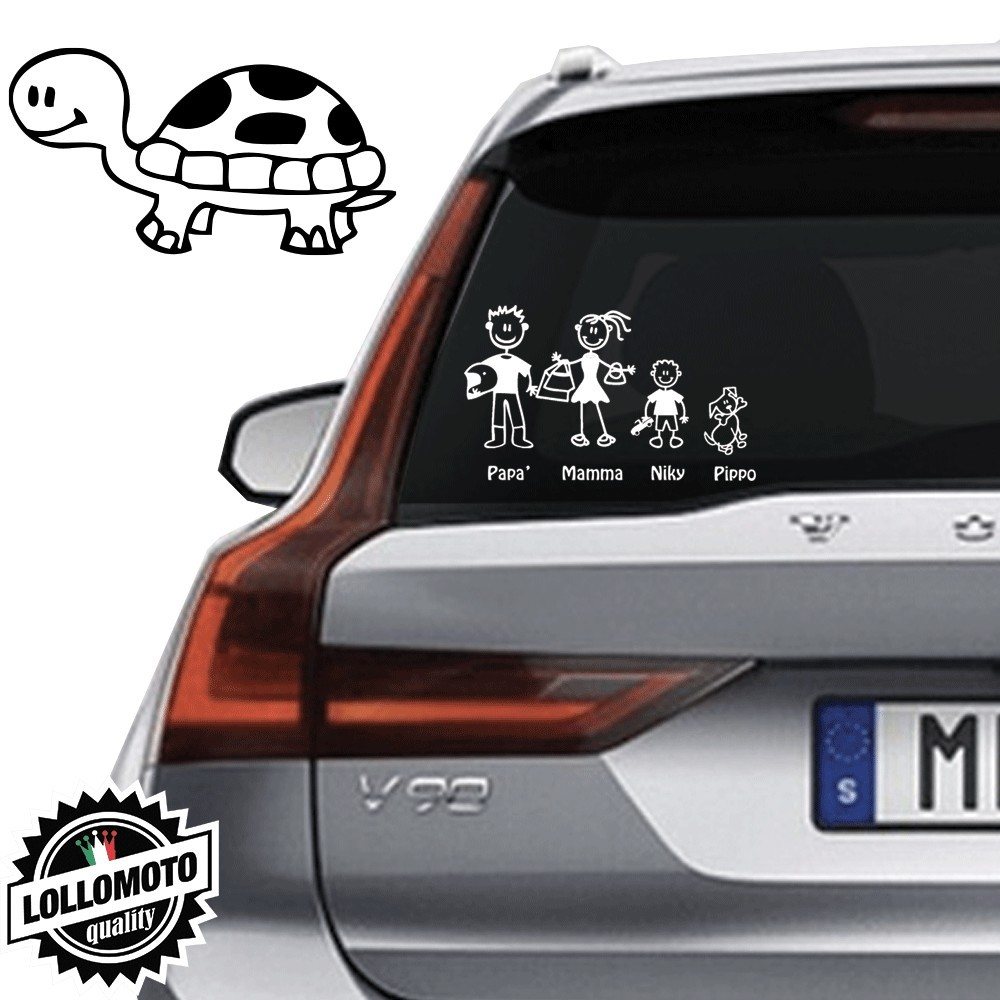 Tartaruga Vetro Auto Famiglia StickersFamily Stickers Family