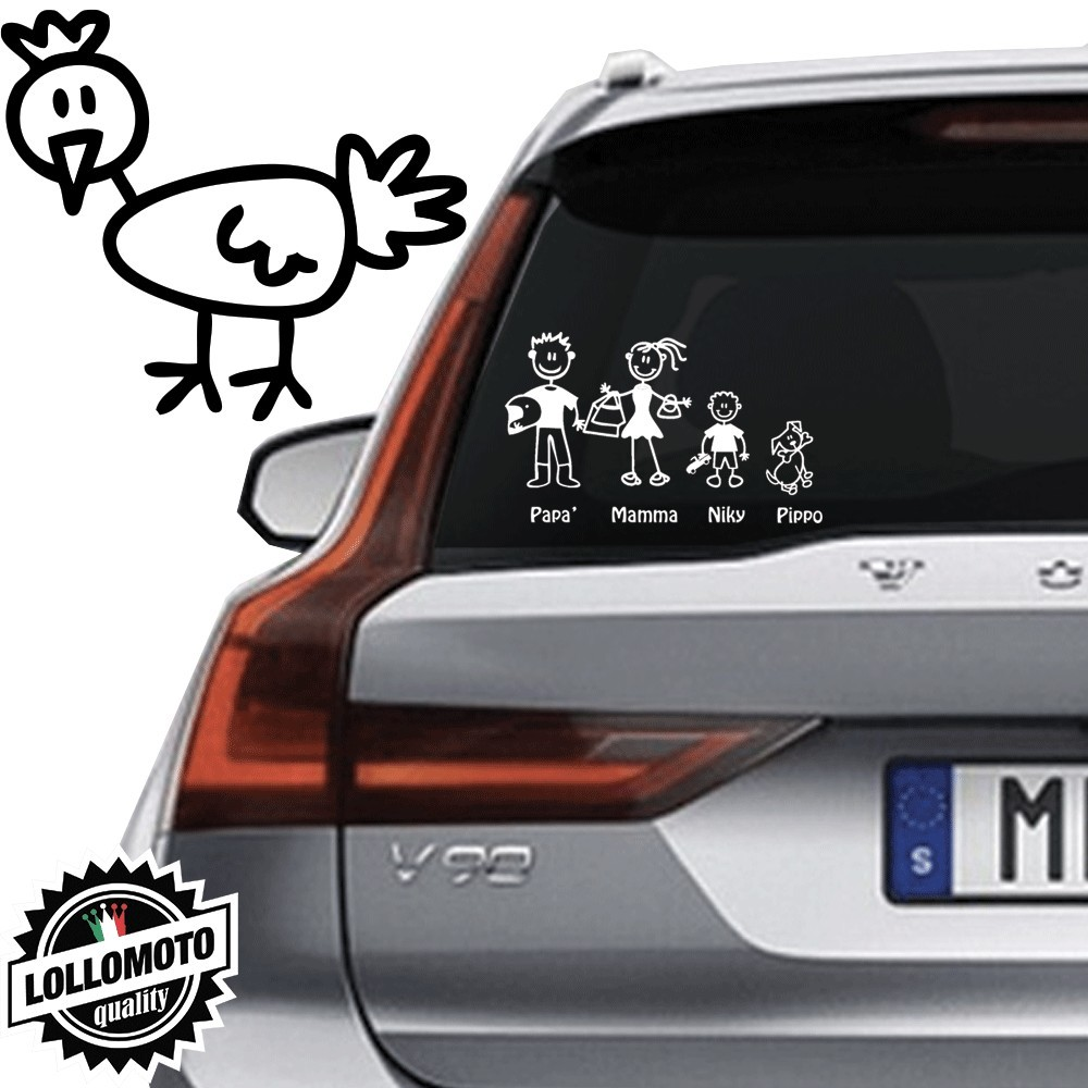 Gallina Vetro Auto Famiglia StickersFamily Stickers Family Decal