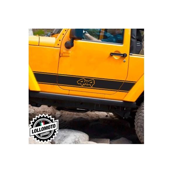 2x Strisce Universali Auto 4x4 Off Road Fuoristrada Adesivi Stickers Fiancate Auto Strip Decal