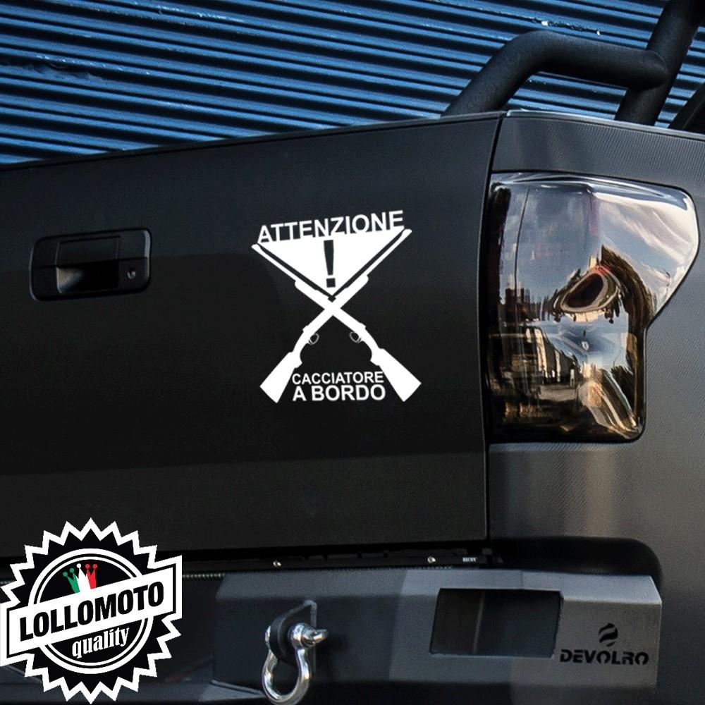 2x Adesivi Attenzione Cacciatore Fucili Auto Stickers Caccia Decal Intagliati Altissima Qualità