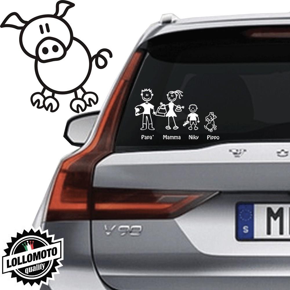Maiale Vetro Auto Famiglia StickersFamily Stickers Family Decal
