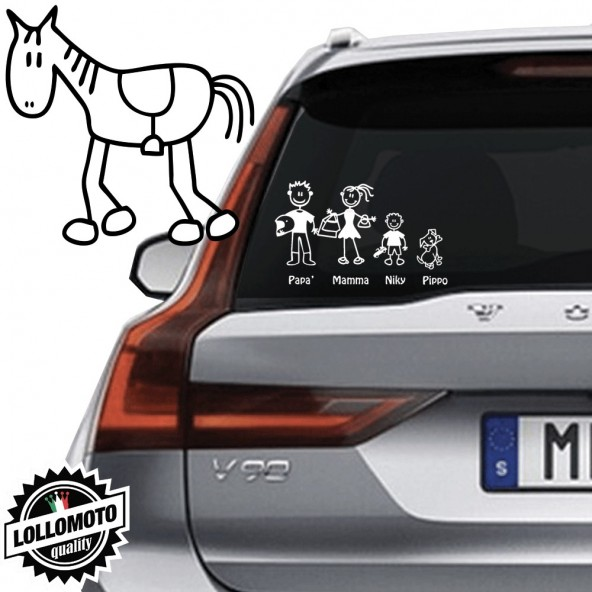 Cavallo Vetro Auto Famiglia StickersFamily Stickers Family Decal