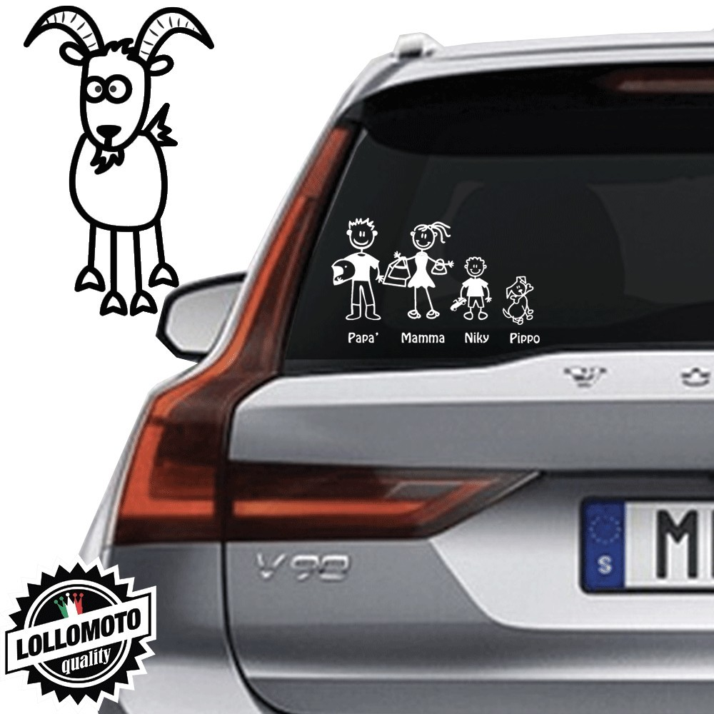 Capra Vetro Auto Famiglia StickersFamily Stickers Family Decal