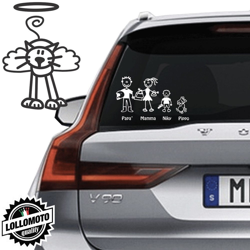 Gatto Angelo Vetro Auto Famiglia StickersFamily Stickers Family