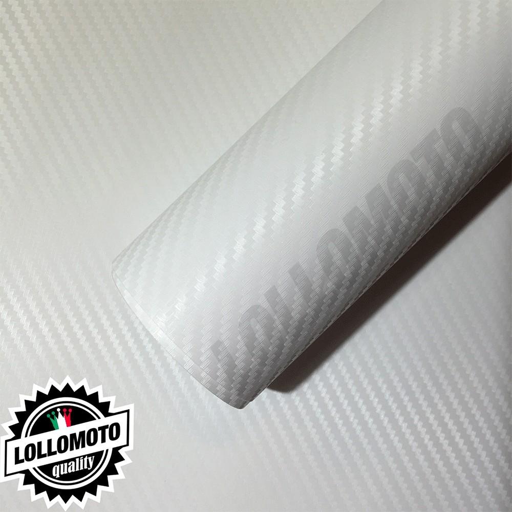 Carbonio 3D Bianco Pellicola Adesiva Rivestimento Auto Car