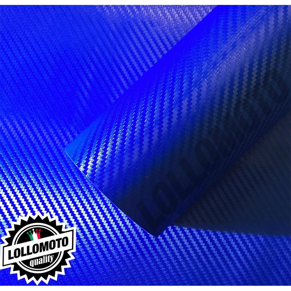 Carbonio 3D Blu Pellicola Adesiva Rivestimento Auto Car Wrapping