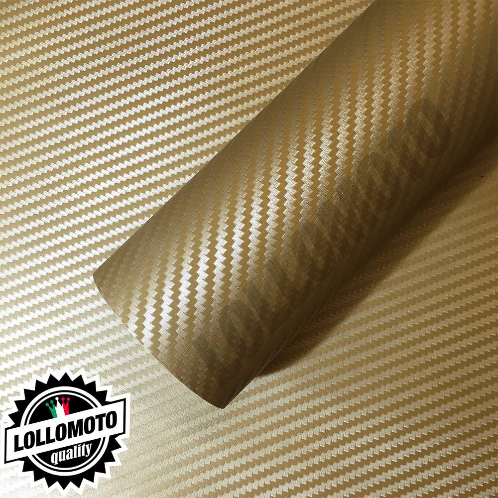 Carbonio 3D Oro Pellicola Adesiva Rivestimento Auto Car Wrapping