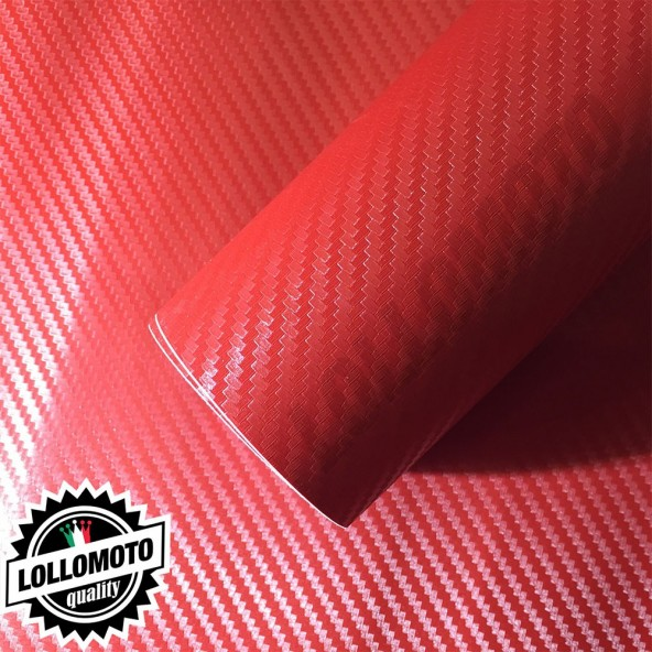 Carbonio 3D Rosso Pellicola Adesiva Rivestimento Auto Car